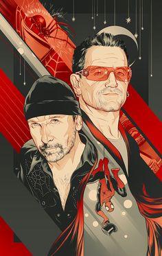 Bono/The Edge - Spiderman Broadway art Adam Clayton, Larry Mullen Jr., U2 Music, Music Class, Rock Music, U2 Band, Bono Vox, Dragons Online, Arte Pop
