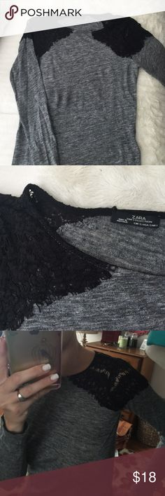 Zara cotton and lace blouse Grey cotton blouse with black lace shoulder epaulettes. Slim fit. Light weight cotton and viscose. ZARA Zara Tops Tees - Long Sleeve