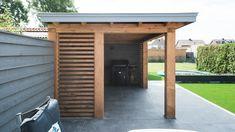 Houten tuinhuis met shutters in Veenendaal Garden Room, Swimming Pool House, Entrance Ways, House Entrance, Outdoor Living, Pergola Garage Door, Outdoor Design