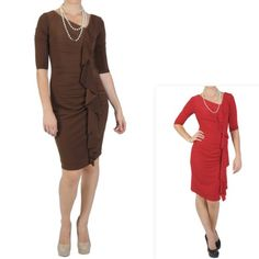 Sangria Womens Three-quarter Sleeve Fitted Ruched Dress $24.99