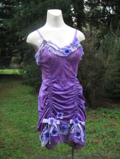 OOAK Upcycled Magical Fearie Violet Ruched Slip Dress by getjuliet, $85.00
