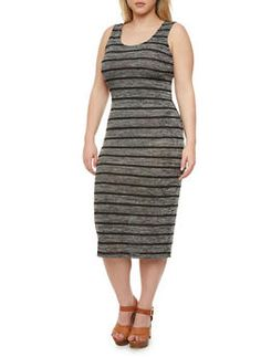 Plus Size Striped Midi Dress With Crisscross Back Cutout,GRAY