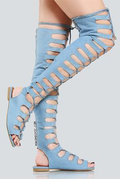 Online shopping for Denim Lace Up Gladiator Sandals DENIM from a great selection of women's fashion clothing & more at MakeMeChic. Thigh High Sandals, Lace Up Gladiator Sandals, Womens High Heels, Womens Flats, Bohemian Shoes, Boho, Lace Pants, Denim And Lace, Travel Shoes