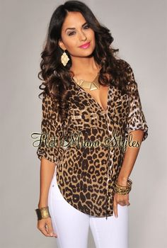 Brown Leopard Print Rolled-Up Sleeves Shirt - Leopard Dresses - Ideas of Leopard Dresses Leopard Print Outfits, Animal Print Outfits, Animal Print Fashion, Leopard Print Shirts, Classy Outfits, Cool Outfits, Casual Outfits, Fashion Outfits, Miami Fashion