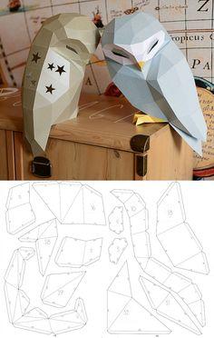 Owl Model Owl Low poly Owl Sculpture Owl paper Papercraft Kit DIY Paper Crafts animals Owl Paper, Paper Crafts, Low Poly, Diy Kits, Arts And Crafts Kits Instruções Origami, Paper Crafts Origami, Paper Crafts For Kids, Cardboard Crafts, Diy Paper, Paper Crafting, Origami Flowers, Paper Craft Templates, Cardboard Mask