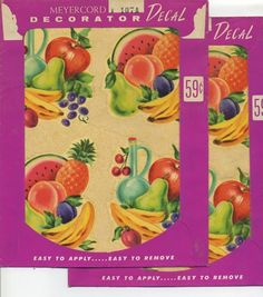 VTG MEYERCORD DECAL LOT OF 2 FRUIT VEGETABLE RETRO KITCHEN 60'S KITSCHY CUTE