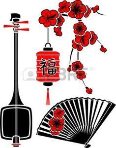 asian stencils: Set of Japanese art, shamisen, sakura, fan and light