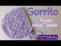 Gilda Bissoni shared a video Crochet For Kids, Free Crochet, Knit Crochet, Crochet Hats, Baby Knitting Patterns, Crochet Patterns, Crochet Baby Bonnet, Baby Bonnets, Crochet Videos