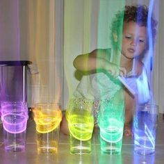 Glow sticks in water glasses....when you dim the lights and tap glass it looks like laser light show & that is just cool!!!!