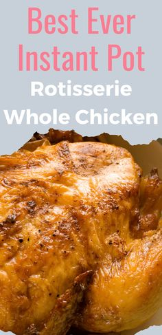 This Instant Pot Whole Chicken recipe makes a moist and juicy rotisserie style chicken your family will LOVE! So easy, even a beginner to the Instapot can master it! Instant Pot Whole Chicken Recipe, Whole Baked Chicken, Instant Pot Pasta Recipe, Best Instant Pot Recipe, Instant Pot Dinner Recipes, Instapot Recipes Chicken, Baked Chicken Recipes, Best Instapot Recipes, Instant Pot Pressure Cooker