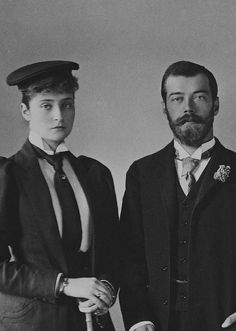 """Princess Alix Victoria Helena Louise Beatrice of Hesse (Darmstadt) and by Rhine and Tsarevich Nikolai Alexandrovich Romanov of Russia 1894. """"AL"""""""