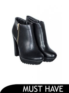 Select Fashion | Black Cleated Sole High Ankle Boots | Size 3