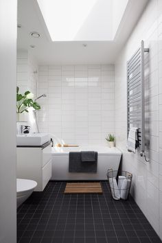 Read More About New Bathroom Renovation Ideas DIY bathroomideasneeded bathroomremodelneeded 13933080085059470 Black Tile Bathrooms, Bathroom Colors, Small Bathroom, Modern Bathrooms, Downstairs Bathroom, White Bathroom, Modern Bathroom Design, Bathroom Interior, Bathroom Accessories Luxury