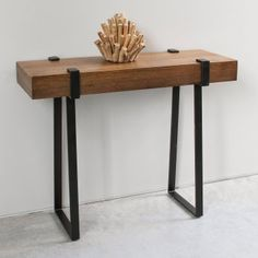 Standout sculptural black metal legs support the International Caravan Hamburg Contemporary Wooden Block Console Table , but the hardwood block tabletop. Contemporary Coffee Table, Rustic Contemporary, Modern Industrial, Sofa Table Styling, Wooden Blocks, Unique Furniture, Entryway Tables, Console Tables, Foyer