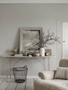 Nice side table/vignette - Ticking and Toile