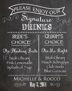 Signature Drink Sign Chalkboard Sign Digital by NVDigitalDesigns