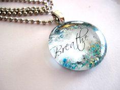 Breathe Art Pendant Necklace glass Gem by TheWoodsSecretGarden