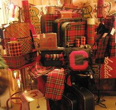plaid luggage