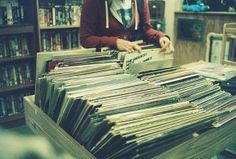 Old records. Record players.