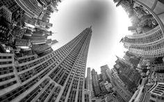 Black and White fisheye lens photo. #architechture #art #skyline