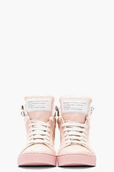 *I find Marc Jacobs clothing design unflattering and ugly - I'll make an exception for these kicks*  MARC BY MARC JACOBS Blush pink leather Cute Kicks High-Top Sneakers