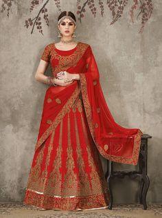 Lovely Red Pure Silk Lehenga.