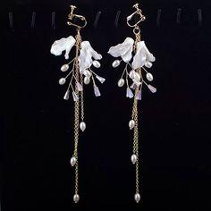 로맨틱 비즈 롱드롭 귀걸이 (귀찌, 은침 가능) : 심플노모어