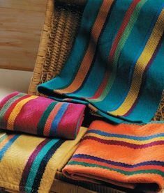 Aurora Earth Celebration Towels.  Weave a set of bright towels to celebrate the color of our life!  Choose from four different color schemes or weave a complete set of twelve towels (three of each color) to brighten any kitchen.