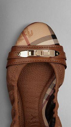 Haymarket Check Leather Ballerinas | Burberry