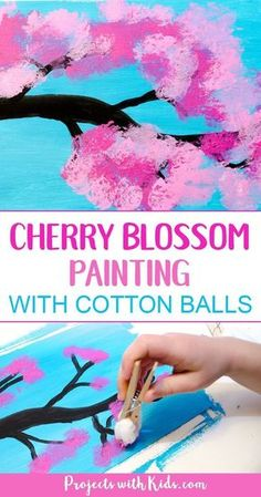 Beautiful STEAM for Exploring Creation with Botany: Cherry blossom painting with cotton balls is the perfect spring art project for kids. Kids will love exploring and painting the gorgeous cherry blossom colors with cotton balls in this process art activity. A fun painting project for kids of all ages! #kidsart #springart #cherryblossomart #projectswithkids