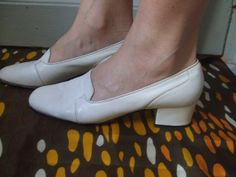 1960 LEATHER SHOES / mod/ space age / twiggy by lesclodettes, $49.00