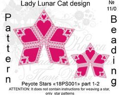 Valentine's Day peyote Star patterns for seed beads beading, Love heart peyote patterns, Beaded star pattern