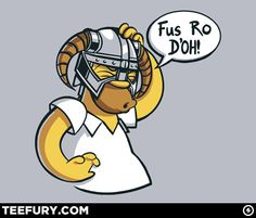 Simpsons/Skyrim 'Fus Ro Doh' t-shirt at Teefury