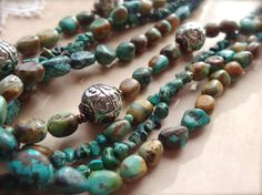 Turquoise Necklace Multi Strand Turquoise by TheCrystalCorral