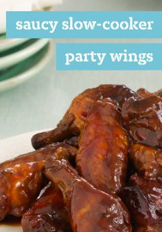 Saucy Slow-Cooker Party Wings – These slow-cooker BBQ wings, seasoned with honey and OJ, are a crowd-pleaser that make entertaining ridiculously simple.