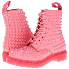 Dr. Martens Spike All Stud 8-Eye Boot ($210) ❤ liked on Polyvore featuring shoes, boots, ankle booties, pink, acid pink, spike studded boots, pink spiked boots, slip resistant shoes, spiked boots and pink shoes