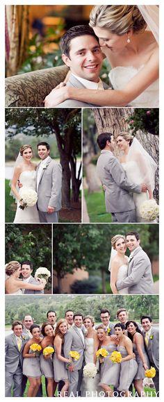 broadmoor hotel wedding portraits bride groom gray bridesmaid dresses yellow bouquets