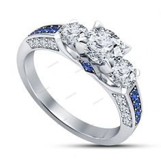 1.50 Carat Prong Setting Simulated Diamond & Sapphire 3 Stone Women's Ring 5 6 7 #beijojewels #SolitairewithAccents #EngagementWeddingAnniversaryPromiseValentine