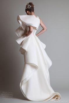 krikor jabotian couture dresses 2014 short dress over skirt back view ruffles