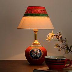 Terracotta handpainted warli red matki lamp