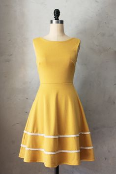 Coquette Dress in Mustard - thoughtfully picked at fairejour