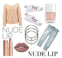 """""""My entry to the nude lip contest😘"""" by cmgkittycat ❤ liked on Polyvore featuring beauty, adidas, Hollister Co., Des Petits Hauts, Nails Inc., Charlotte Tilbury and Lime Crime"""