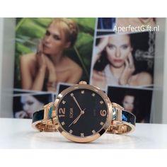 LOISIR 11L05-00273 klein horloge - zwart smal horlogebandje en zwarte wijzerplaat RVS