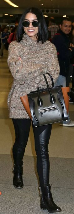 Who made Vanessa Hudgens' green handbag, brown sweater, and black zipper ankle boots? | OutfitID | Bloglovin'