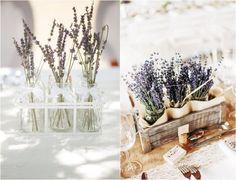 décoration de mariage en lavande officinale en bouteilles et pots à confiture