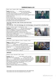 Chanson Dommage de Bigflo et Oli - Français Fle Fiches Pedagogiques Songs, Fle