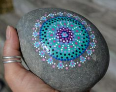 Large Beach Stone Hand Painted Rainbow Dot by P4MirandaPitrone