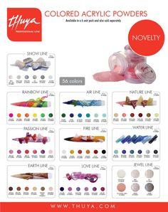Polveri acriliche colorate. Compatibili con tutti i liquidi monomeri Thuya e miscelabili tra loro.
