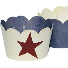 Confetti Couture Party Supplies 36 Dessert Skirtz Reversible Cupcake Wrappers for Bakery Packaging and Decoration, Red Lone Star on Whitewash Wood Pattern with Blue Denim Confetti Couture Party Supplies http://www.amazon.com/dp/B015HQEH8M/ref=cm_sw_r_pi_dp_SLhZwb0D41N58 #rustic #star #party #supplies