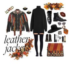 """Leather jackets"" by emana0 on Polyvore featuring Gucci, Givenchy, Isabel Marant, Sacai, Chloé, Maison Michel, Allstate Floral, Kendra Scott, Bobbi Brown Cosmetics and Lime Crime"